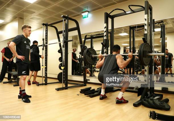 Rugby All Blacks training at gym Vista Norther Tour Team train at Heaven Club in Rome Italy on November 19 2018