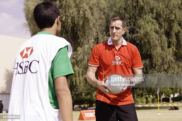 Rugby Ambassador Will Greenwood coaches Emirati youngsters during an HSBC Rugby Coaching Clinic at Rashid School for Boys on November 26 2013 in...