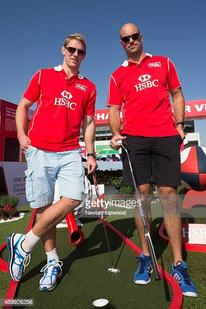 Rugby Ambassadors Lewis Moody and Nathan Sharpe during the Dubai Sevens the second round of the HSBC Sevens World Series at on December 4 2014 in...