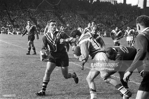 Test Match Australia France Paris 31 octobre 1959 Dans un stade à l'occasion d'un match test de rugby à XIII opposant l'Australie à la France des...