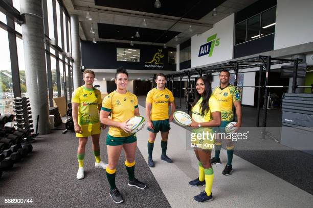 Rugby Australia athletes Lewis Holland Mollie Gray Bernard Foley Mahalia Murphy and Kurtley Beale pose during the opening of the Rugby Australia...