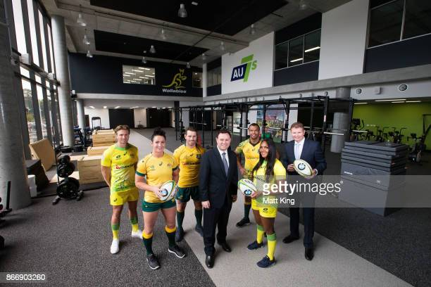 Rugby Australia athletes Lewis Holland Mollie Gray Bernard Foley Kurtley Beale and Mahalia Murphy pose with NSW Minister for Sport Stuart Ayres and...