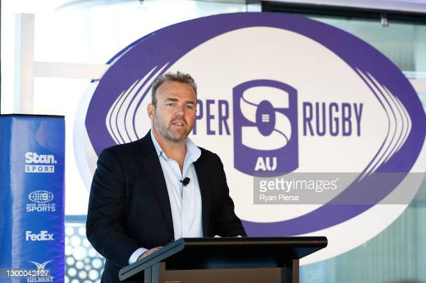 Rugby Australia CEO Andy Marinos speaks during the 2021 Super Rugby AU Launch at Taronga Zoo on February 03, 2021 in Sydney, Australia.