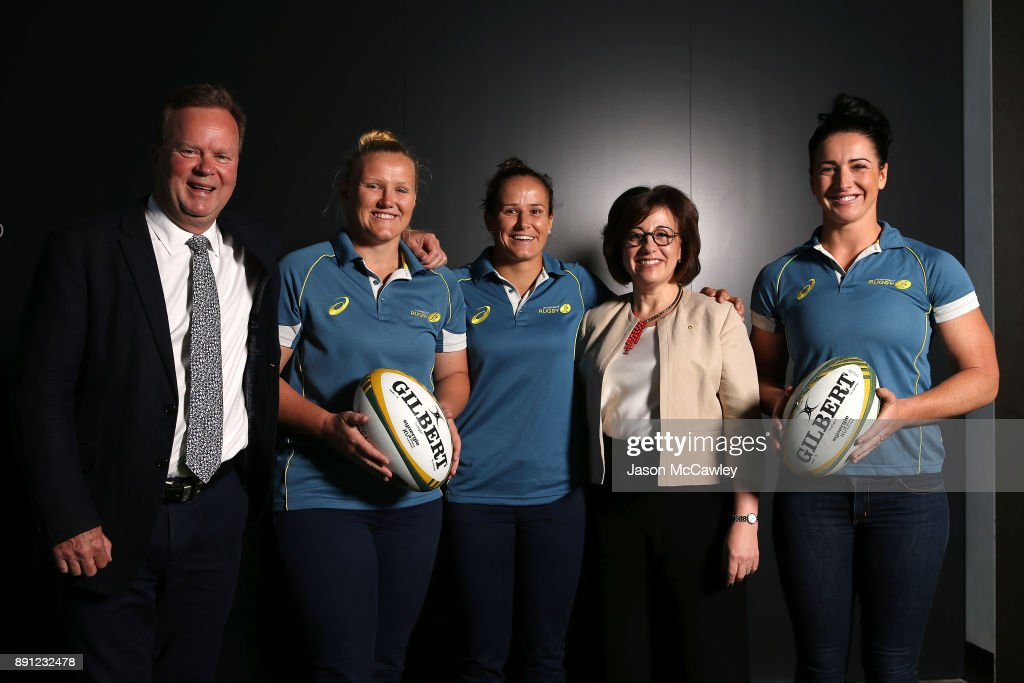 Rugby Australia CEO, Bill Pulver, Emily Robinson, Shannon Parry, Josephine Sukkar and Mollie Gray during a Rugby Australia press conference at the Rugby Australia Building on December 13, 2017 in Sydney, Australia.