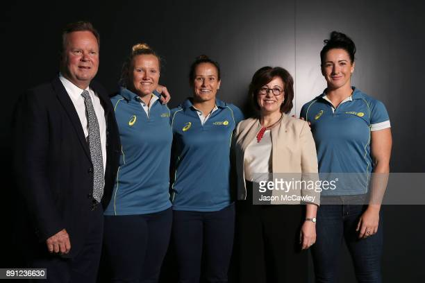 Rugby Australia CEO Bill Pulver Emily Robinson Shannon Parry Josephine Sukkar and Mollie Gray during a Rugby Australia press conference at the Rugby...