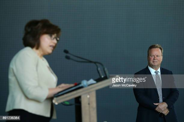 Rugby Australia CEO Bill Pulver looks on during a Rugby Australia press conference at the Rugby Australia Building on December 13 2017 in Sydney...