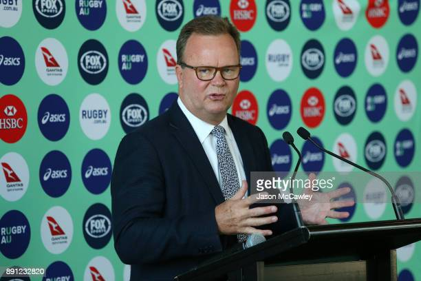 Rugby Australia CEO Bill Pulver speaks to the media during a Rugby Australia press conference at the Rugby Australia Building on December 13 2017 in...