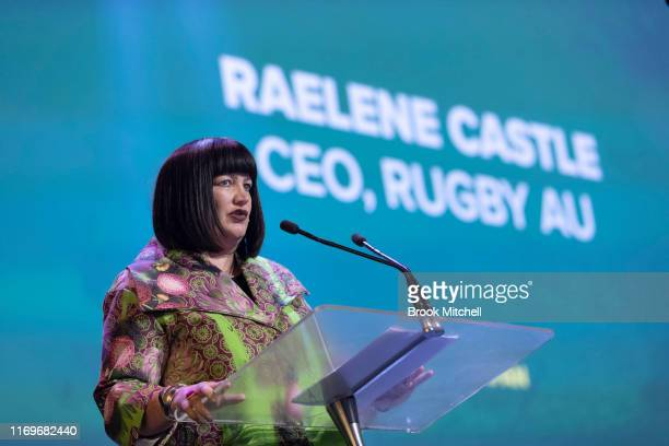 Rugby Australia CEO Raelene Castle speaks at the Australian Wallabies RWC Farewell Lunch at The Star on August 23, 2019 in Sydney, Australia.