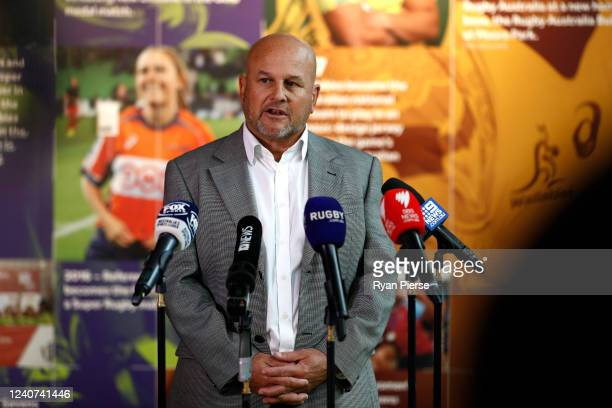 Rugby Australia CEO Rob Clarke speaks to the media during a press conference at Rugby AU Headquarters on June 02, 2020 in Sydney, Australia.