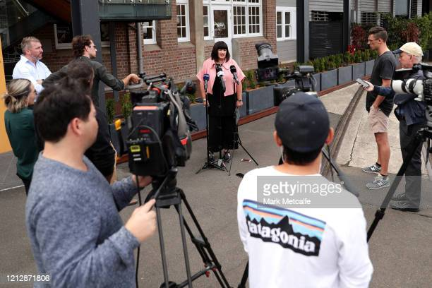 Rugby Australia Chief Executive Raelene Castle speaks to the media during a press conference at Jones Bay Wharf on March 17, 2020 in Sydney,...