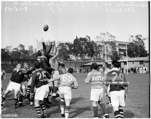 Rugby -- Australia vs UCLA, Spaulding Field, 25 March 1958. 'Sports'. .;Supplementary material reads: 'Rugby Football, Tuesday, March 25, 1958....