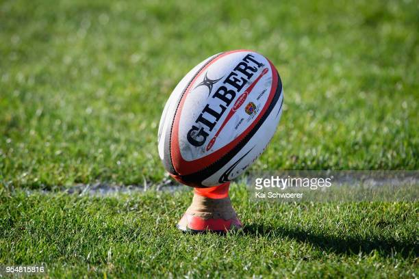 Rugby ball is seen during the First XV match between Shirley Boys' High and Christ's College on May 5 2018 in Christchurch New Zealand