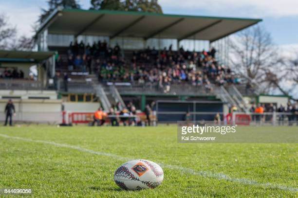 A rugby ball is seen in front of the main stand at halftime during the Heartland Championship match between Mid Canterbury and South Canterbury at...
