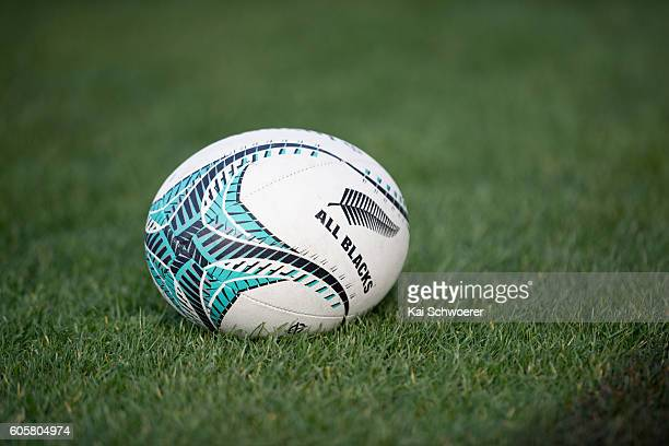 Rugby Ball is seen on the pitch during a New Zealand All Blacks training session on September 15 2016 in Christchurch New Zealand
