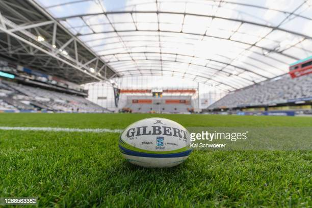 Rugby ball is seen prior to the round 10 Super Rugby Aotearoa match between the Highlanders and the Hurricanes at Forsyth Barr Stadium on August 15,...