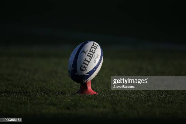 Rugby Ball on a tee prior to the Heineken Champions Cup Round 6 match between Harlequins and ASM Clermont Auvergne at Twickenham Stoop on January 18,...