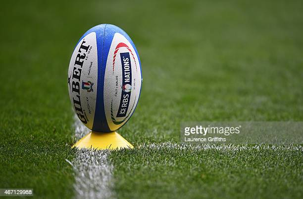 A rugby ball sits on a cone prior to the RBS 6 Nations match between Italy and Wales at Stadio Olimpico on March 21 2015 in Rome Italy