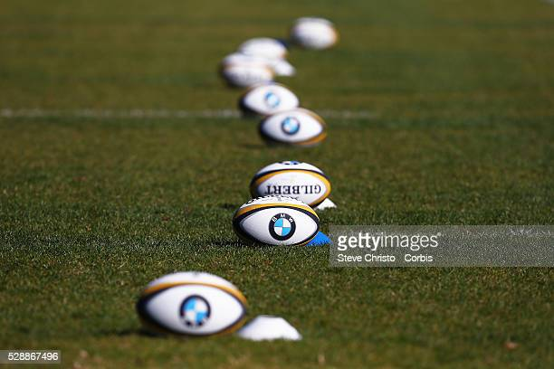 Rugby balls before Wallabies training at Kippax Lake on Monday, August 3rd, 2015 in Sydney, Australia.