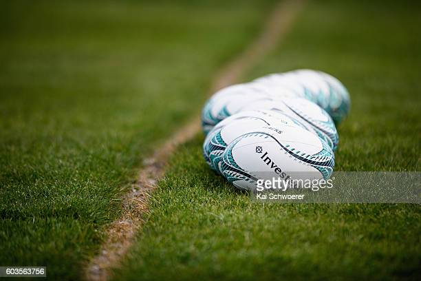 Rugby balls lined up on the pitch prior to a South Africa Springboks training session at Clearwater Resort Fields on September 13 2016 in...