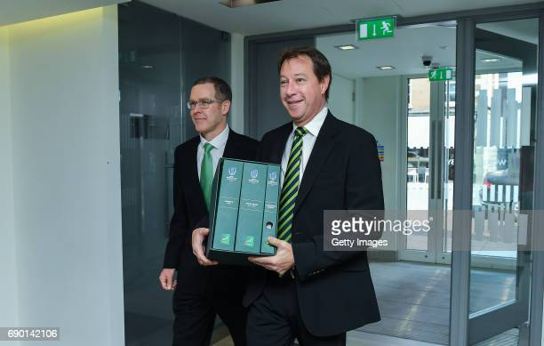 Rugby CEO Jurie Roux and Bruce Beckett left SA Rugby Bid Committee member arrive to hand in the SA Rugby bid submission for the 2023 Rugby World Cup...