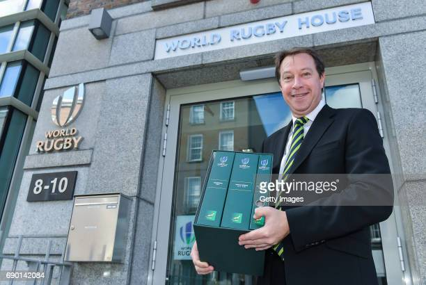 Rugby CEO Jurie Roux arrives to hand in the SA Rugby bid submission for the 2023 Rugby World Cup to Brett Gosper CEO World Rugby and Alan Gilpin Head...