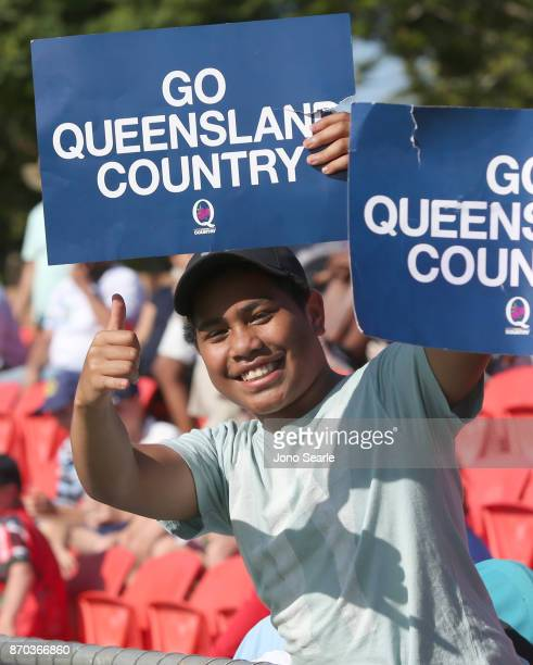 Rugby fan holds a sign during the NRC Semi Final match between Queensland Country and Fijian Drua at Clive Berghofer Stadium on November 5 2017 in...