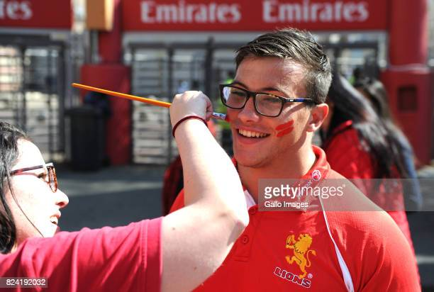 Rugby fans enjoy the atmosphere before the Super Rugby Semi Final match between Emirates Lions and Hurricanes at Emirates Airline Park on July 29...