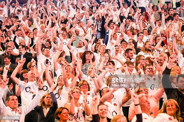 Rugby fans enjoy the atmosphere during the Wear The Rose Live Official England Send off event hosted by O2 at The O2 Arena on September 9 2015 in...
