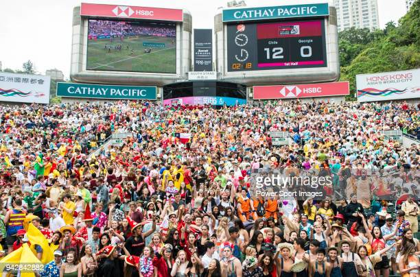 Rugby fans pack the South Stand of the Hong Kong Stadium during the HSBC Hong Kong Rugby Sevens 2018 on April 7 2018 in Hong Kong Hong Kong