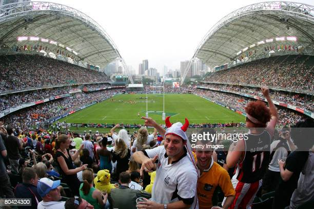 Rugby fans pose during the Hong Kong Rugby Sevens 2008 on March 29 in Hong Kong China