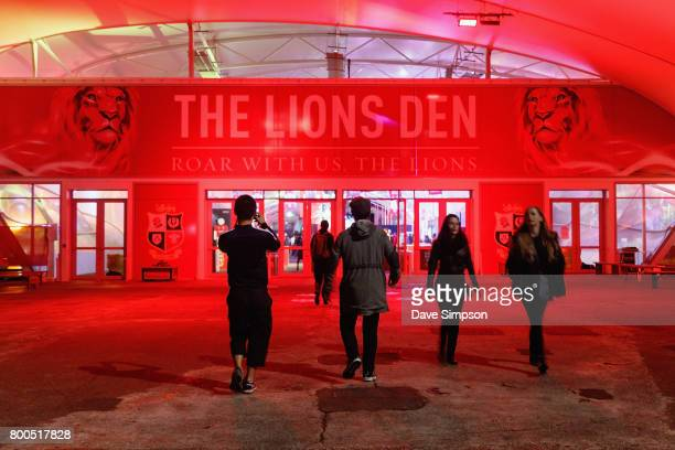Rugby fans visit The Lions Den in the Queens Wharf Auckland Fan Zone to watch the Rugby Test match between the New Zealand All Blacks and the British...