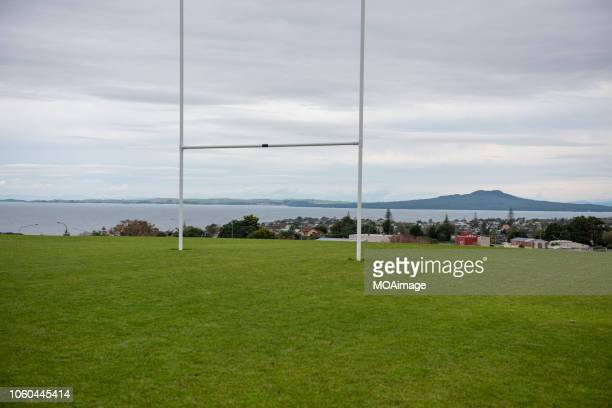 a rugby field,auckland,new zealand - rugby pitch stock pictures, royalty-free photos & images
