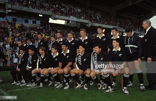 Rugby France New Zealand in Nantes France On November 03 1990The All Blacks team