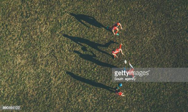 rugby game from above - rugby field stock pictures, royalty-free photos & images