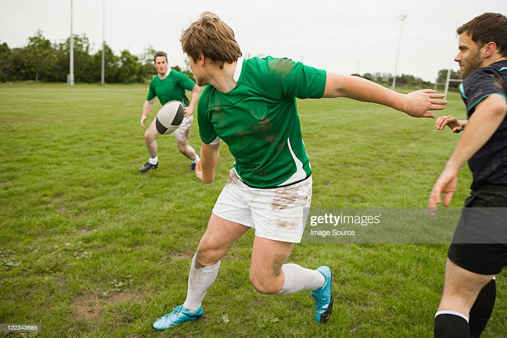 Rugby game in action : Stock Photo