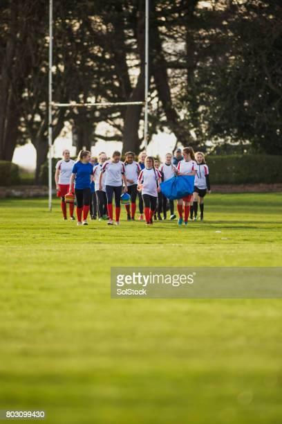Rugby filles configurer le Pitch