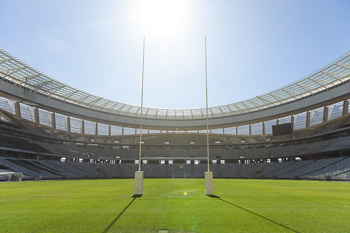 Rugby goal post on a sunny day in the stadium 1159629576