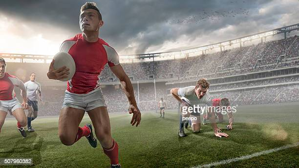 Rugby Hero Sprinting With Ball During Rugby Game In Stadium