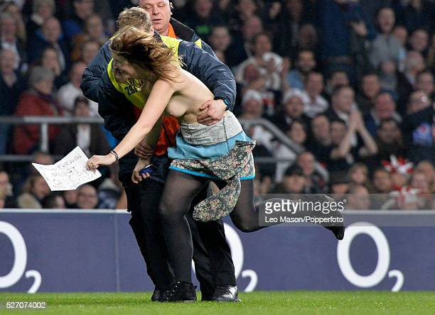 Rugby International at RFU Twickenham UK England v Samoa Female streaker invades the pitch in the second half