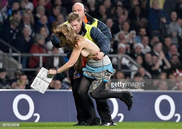 Rugby International at RFU Twickenham UK England v Samoa Female streaker invades the match in the second half