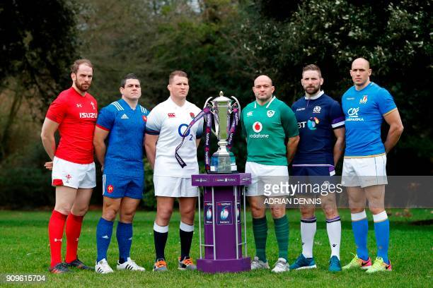 Rugby international captains Wales' Alun Wyn Jones France's Guilhem Guirado England's Dylan Hartley Ireland's Rory Best Scotland's John Barclay and...