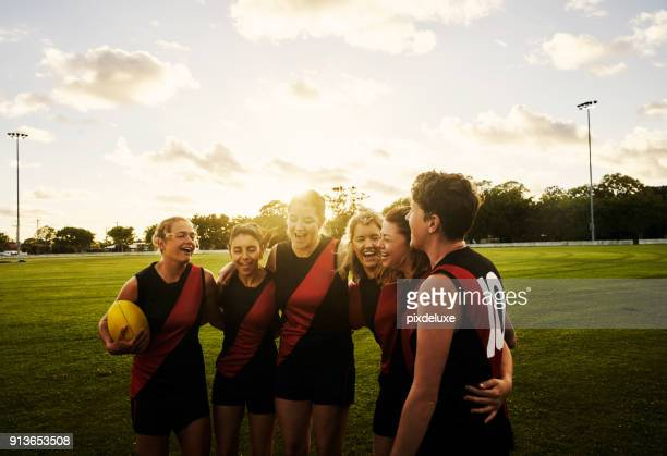 rugby is a sisterhood - team sport stock pictures, royalty-free photos & images