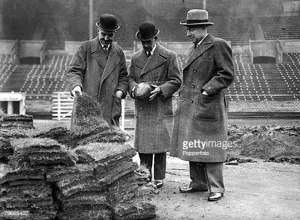 Rugby League 26th March 1936 Wembley Stadium London Mr AA Bonner Vice Chairman of the Rugby League with John Wilson Secretary of the League and...