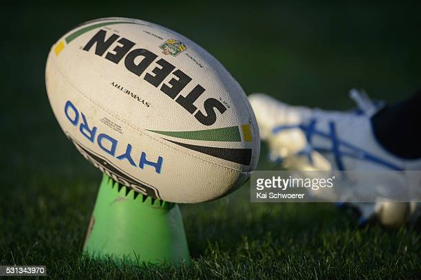 A rugby league ball is seen on a kicking tee during the round 10 NRL match between the Penrith Panthers and the New Zealand Warriors at AMI Stadium...