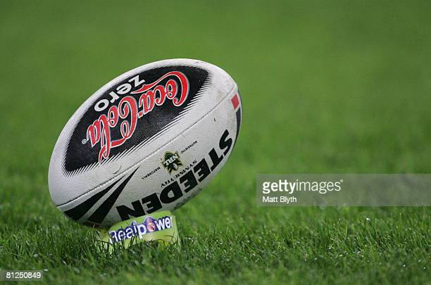A rugby league ball is seen on a kicking tee during the round 11 NRL match between the Bulldogs and the Cronulla Sharks at ANZ Stadium on May 26 2008...