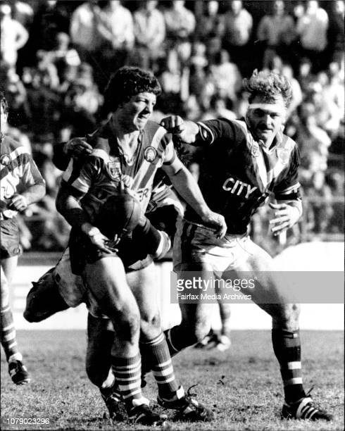 Rugby League - Easts Verses Canterbury at Sports Ground.Canterbury's Phil Gould tries to slip the ball to a team mate yesterday as Easts' hooker...