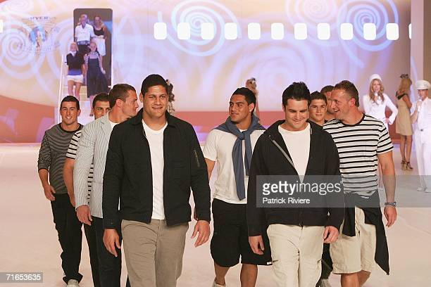 Rugby League footballers Matt Cooper Willie Mason Eric Grothe Mark Gasnier and Reni Maitua walk on the runway at the Myer Spring/Summer Fashion Show...