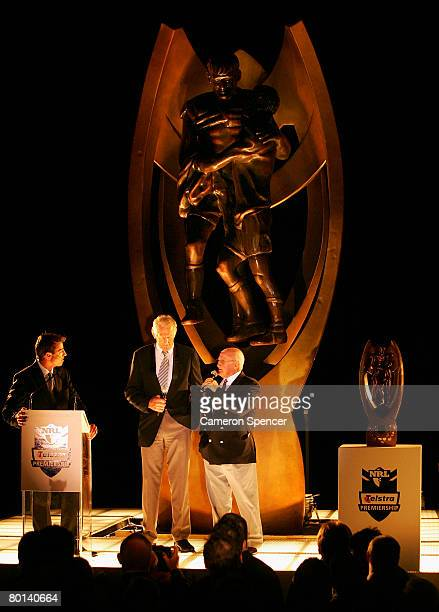 Rugby league legends Norm Provan and Authur Summons talk on stage during the NRL 2008 season launch at Birchgrove Oval on March 6 2008 in Sydney...