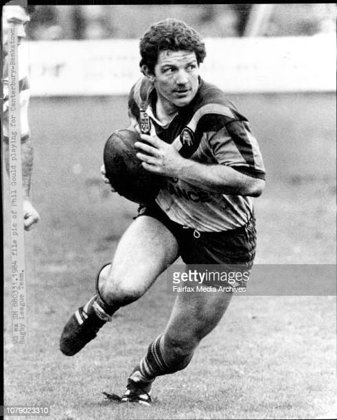 Rugby League. Manly Vs Canterbury.Phil Gould playing for Canterbury-Bankstown Rugby League team.Newboy: Phil Gould has switched his Bulldog jersey...