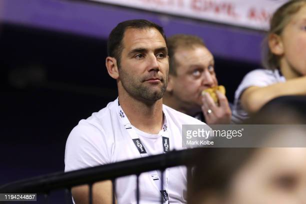 Rugby league player Cameron Smith watches on from the crowdvduring the round 11 NBL match between the Illawarra Hawks and Melbourne United at WIN...